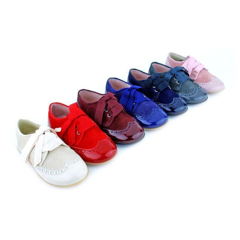 Zapato Blucher Serraje y Charol